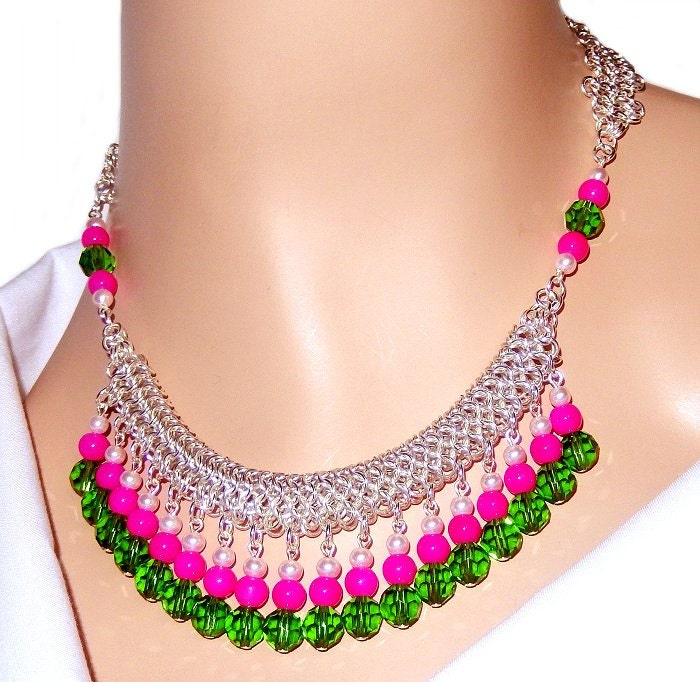 green and pink bib collar waterfall statement necklace