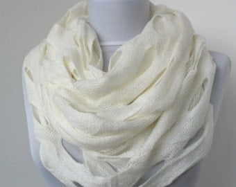 CLEARANCE SALE- White Knit Fabric Scarf - Infinity Scarf - Loop Scarf - Circle Scarf - Soft Scarf  772