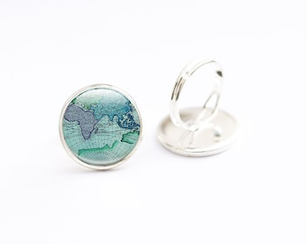 Atlas Ring, Adjustable Ring,  Photo Glass Ring  Picture ring, Art Jewellery,  Map jewelry, Globe Jewelry, Photo Jewelry, blue green ring