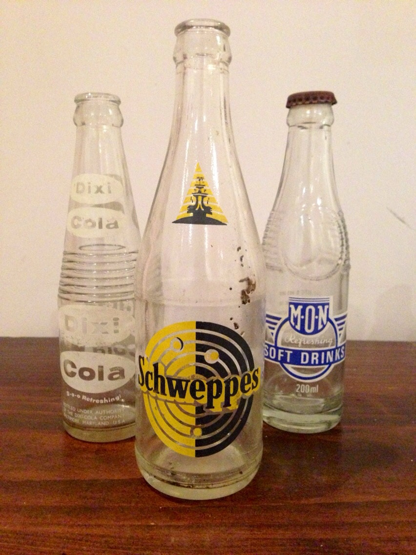 Squishy Drink Bottles : Set of 3 Collectible Soft Drink Bottles by RedTinShed on Etsy