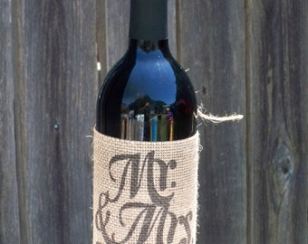 Mr. and Mrs. Personalized Burlap Wine and Bottle reusable slip on sleeve to fit on most bottles