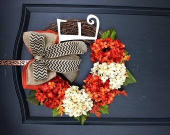 Fall Hydrangea wreath- Monogram Wreaths for door -  Wreath - Door Wreaths - Fall Wreaths for door - Wreath for door