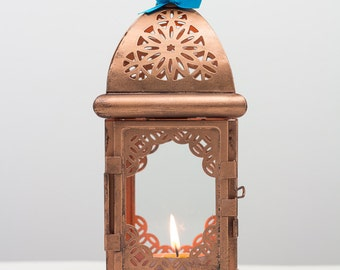 Antique Copper Moroccan Lantern-Arabic Candle Holder-Copper Wedding Lanterns-Eid al-Adha Metal Candle Holder-Home Decor