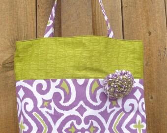 Large tote bag in green and purple, canvas tote bag, shoulder bag, market tote bag, large beach bag, women's tote bag