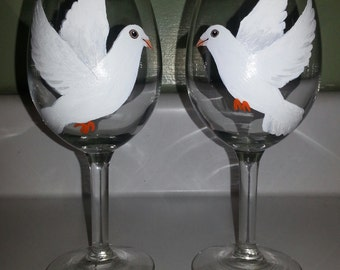 Doves wine glasses, set of two