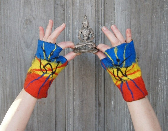 Mittens for meditation, Karma Kagyu ,Tibetan Buddhism bowing meditation, Yoga practice, with Tibetan OM symbol. OOAK