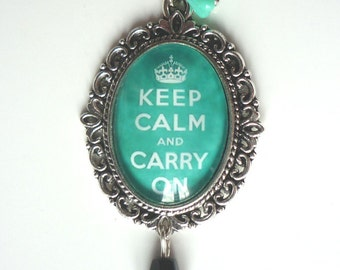Mint Green Keep Calm Necklace Tattoo Rockabilly Pin Up Crown