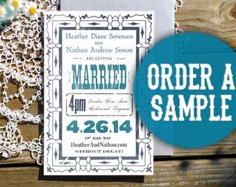 Order a Sample - Letterpress Wedding Invitation - Custom Invite Announcement - Unique Hand Printed Vintage Style