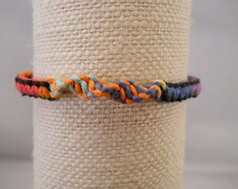 Rainbow Tie Dye Hemp Bracelet, Handmade, Festival Jewelry, Rainbow Bracelet, Macrame Jewelry, One of a Kind