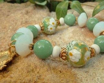 Green Venetian beads - Bracelet - millefiori and white  Vaseline beads. A romantic gift for The Holidays!