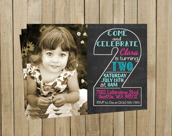 Vintage Chalkboard Two Second Birthday Invitation, Pink and Turquoise, Printable, Custom Digital File
