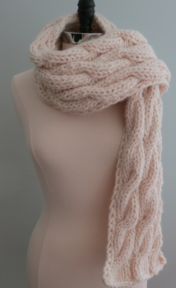 Scarf Knitting Pattern Bulky Scarf Cable Scarf