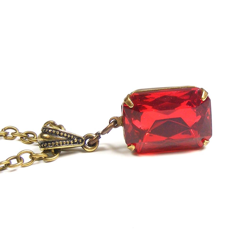 Red Necklace, Vintage Swarovski Crystal, Art Deco Style Pendant