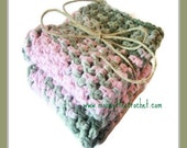 Crochet Dish Cloths Country Chic Pink Green Kitchen Dishcloths Cotton Handmade Set of 2