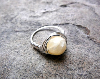 Yellow Jade Ring, Wire Wrapped Ring, Jade Ring, Yellow Stone Ring, Wire Wrapped Ring, Wire Wrapped Jewelry Handmade, Silver Ring