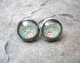Green Paisley Earrings, Red Flower Earrings, Art Jewelry Earrings, Antique Earrings, Paisley Jewelry, Flower Jewelry, Silver Stud Earrings