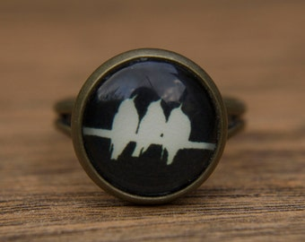 Bird Ring. Black Bird Ring.Glass. Glass Dome Ring. Three Little Birds. Black and White. Birds on a Wire. Adjustable Ring, Statement Ring