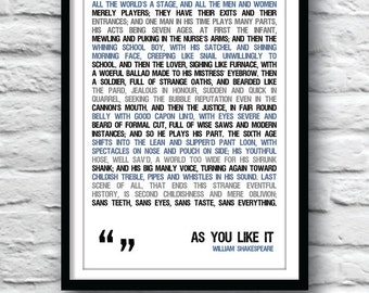 Shakespeare quote print, As You Like It, Shakespeare poster, quote poster, typographic poster, Shakespeare, wall decor