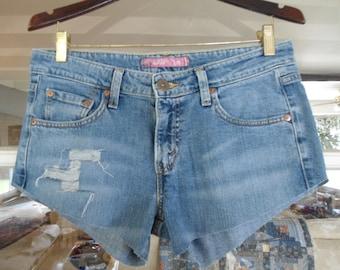Levis Shorts LEVI'S Low Rise Denim Shorts Frayed Jean Shorts Size 14 Shorts Jean Shorts Upcycled Clothing