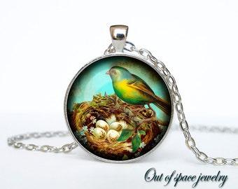 Bird nest pendant Bird nest necklace Bird nest jewelry nature necklace (PBN00011)