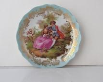 """Limoges Fragonard Lovers Plate Gold Trim & Blue Decor 4.5"""""""