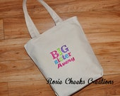 Big Sister or Big Brother Personalized Canvas Tote - Big Sister or Brother Gift - Big Sister or Brother Kit