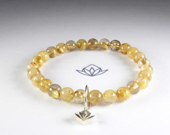 Natural Gold Rutilated Quartz 6mm Beads Stretch Bracelet with Sterling Silver Charm ref: 160003