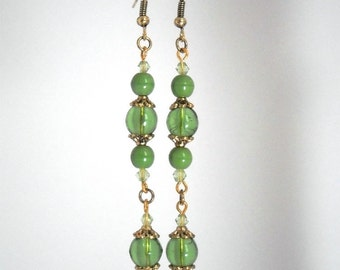 Boho romantic earrings, bright green, hand made by kalani