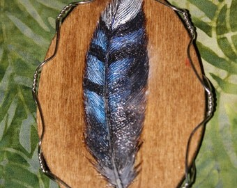 Custom Painted Feather woodburned plaques
