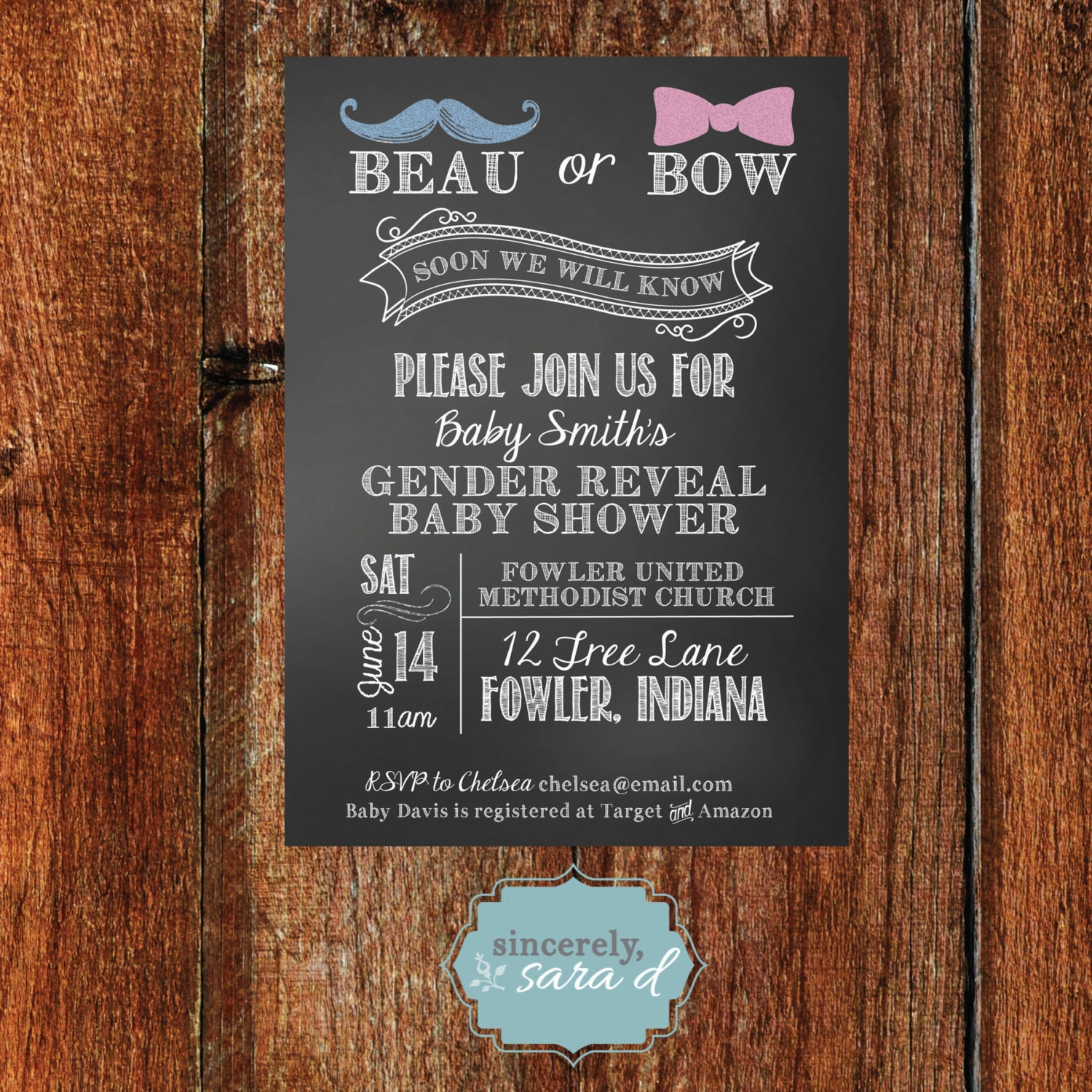 gender reveal baby shower invitation digital by sincerelysarad