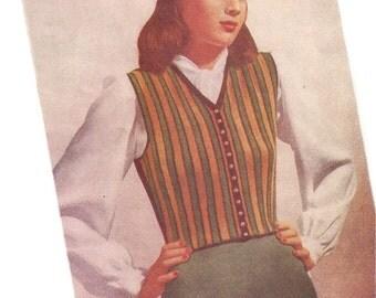 1940s Knitting Pattern for Womens Striped Waistcoat / Vest - Digital PDF