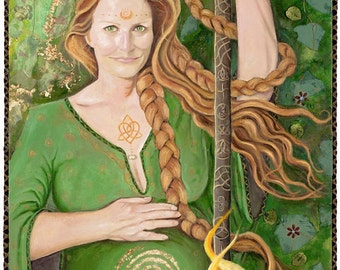 Brighid Mother Goddess of Ireland 6x9 greeting card blank inside description on back