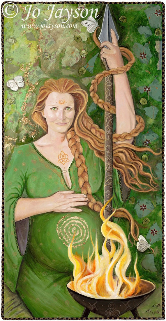 "Brighid Mother Goddess of Ireland 14"" x 28"" Signed Limited Edition Giclee on Fine Art Paper"