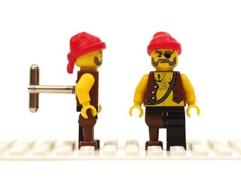 Pirate cufflinks with bandana, bare chest and peg leg. Cufflinks made with LEGO(R) bricks.   Cuff links Wedding gift