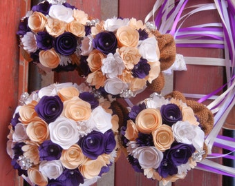 Small Handmade Paper Wedding Bouquet Flower Girl or Toss Bouquet ANY Colors Free matching Boutonniere Purple Cream White