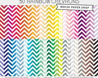 Rainbow Chevron Digital Paper, Digital Chevron Pattern Paper, Digital Zig Zag Paper, Chevron Scrapbooking, Chevron Download, Chevron PNG