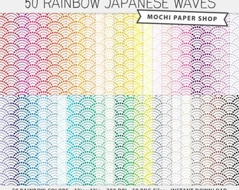 Japanese Waves Digital Paper, Rainbow Waves Background Pattern, Digital Waves Scrapbook Paper, Waves Paper Download, Waves PNG Files