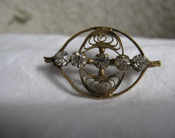 Rhinestone and Brass Brooch