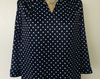 Anthony Richards Women's Vintage Navy Polka Dot Pullover Blouse