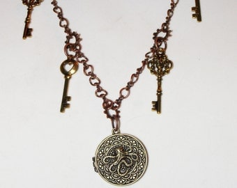 Steampunk Octopus Locket and Key Necklace