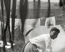 Newport, Rhode Island art print, 1902.Happy young woman surrounded by laundry. Newport, R.I. photography.