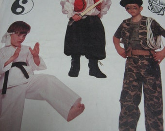 Childrens Halloween Costumes Cowboy Boxer, Military Costume Gi, Karate, Pirate Costume  Child McCalls 4461 Size Small 2-4