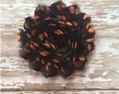 Orange and Black Polkadot Flower Hair Clip, Fall Flower Barrette, Black and Orange Alligator Clip, Girls Barrette, Headband Clip, Halloween