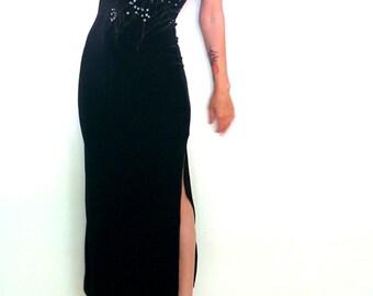 Vintage 1990s Black Velvet Velour Maxi Dress Spaghetti Strap goth witch