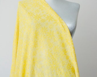 Silvery Yellow Scarf Daisy Scarf Infinity Scarf Lace Scarf Summer Scarf Lightweight Scarf Cotton Jersey Scarf Bridesmaid Scarf