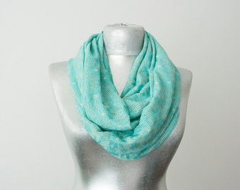 Turquoise Infinity Scarf Lace Scarf Summer Scarf Lightweight Scarf Daisy Scarf Cotton Jersey Scarf Bridesmaid Scarf Women Accessory