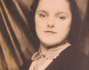 Stoic 1940's Young Woman Photo Booth Photo - Free Shipping