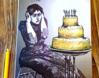 "Humourous birthday card. Girly Birthday. ""Birthdays are Scary"""