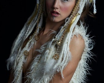 Tribal White and Gold Feather Fur Headdress