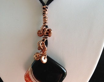 Statement Black Agate Pendant, Copper Wrapped, with Copper Nuggets and Black Leather Adjustable Necklace